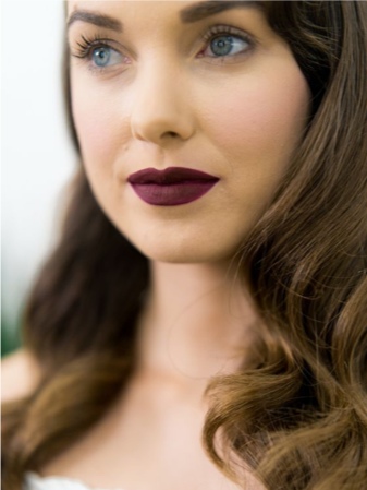 bride wearing maroon lipstick