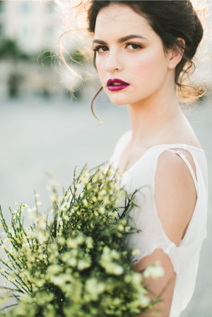 a bride with a bold colour lip