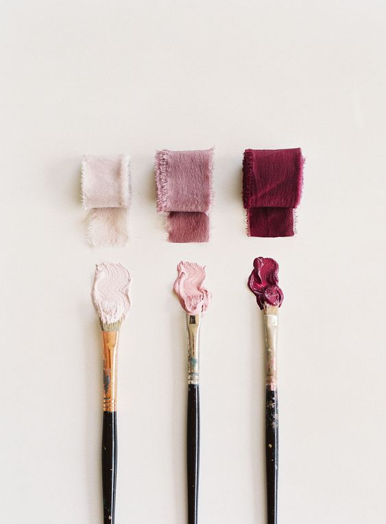a paint swatch in different shades of pink