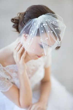 mini birdcage veil with pearl detail