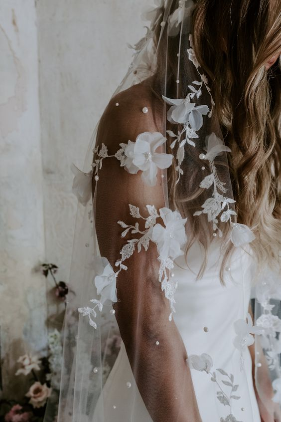 wedding veil with floral appliqué