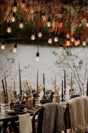 winter wedding table reception