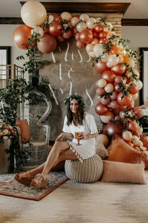 Bride to be sitting on an ottoman