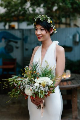 Bride with short hair and flower crown