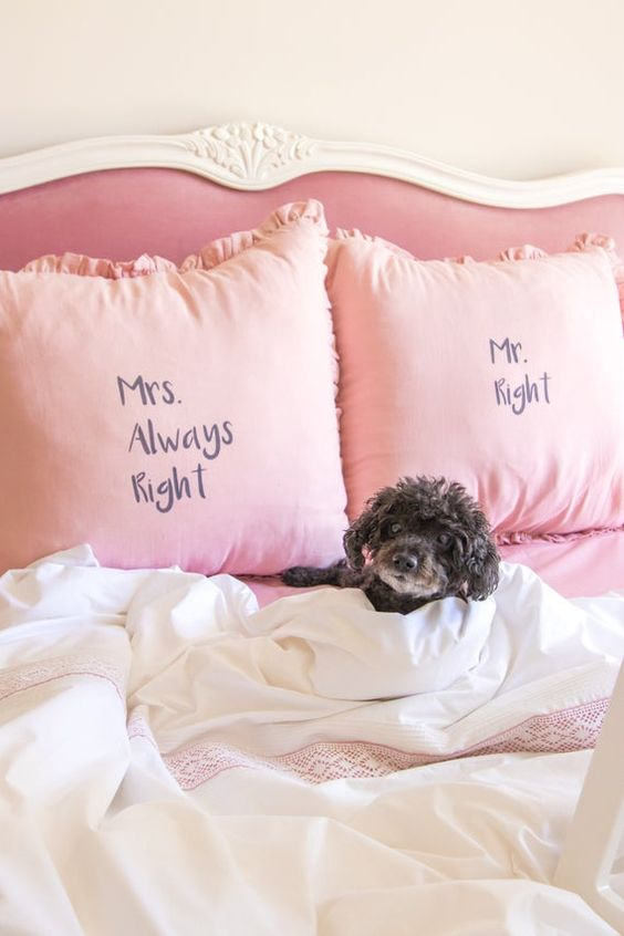 a dog laying in bed