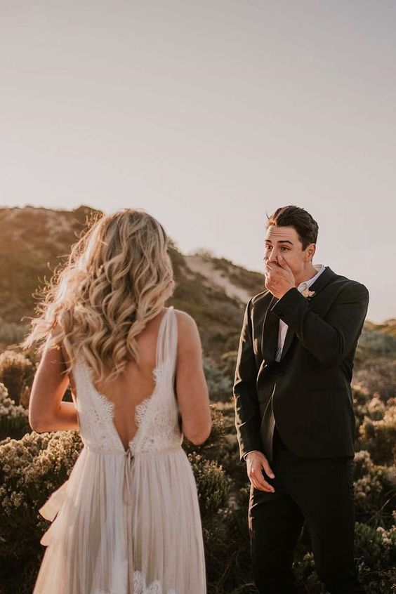 groom shocked seeing his bride for the first time