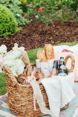 Picnic basket in the garden
