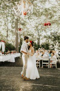 couple dancing at backyard wedding